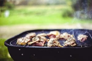 Meat grilled on charcoal grill