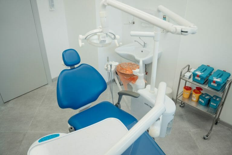 Blue and white hospital bed